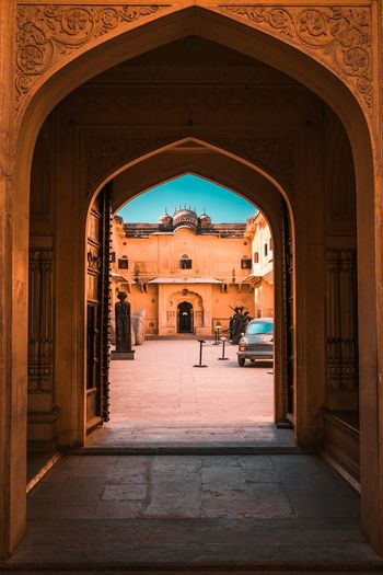 The gates NahargarhFort Arch Architecture Built Structure The Past History Building Exterior Nature Day Travel Destinations Wall - Building Feature The Way Forward Travel Building Sunlight Outdoors City People Entrance