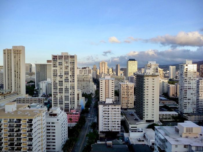 Aerial view of Waikiki Urban Scene Urban Life Urban Photography Copyspace Copy Space Travel Destination Waikiki Horizontal Travel Photography Hawaii Oahu Building Exterior City Built Structure Architecture Sky Building Cityscape No People Modern High Angle View Urban Skyline