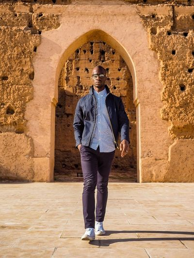 The palais de badia of Marrakech becomes a runway! Blogger Fashion Photography Fashion Architecture Full Length One Person The Past Casual Clothing History Men Travel Destinations Adult Built Structure Front View Sunlight Real People Travel Lifestyles Outdoors