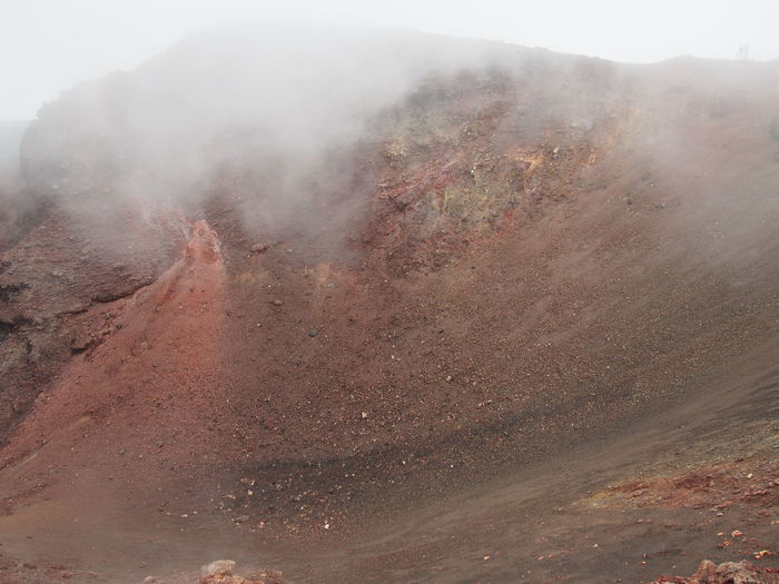 View of volcano during foggy weather