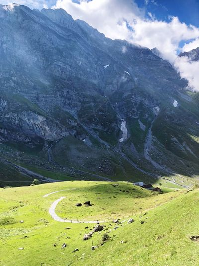 Switzerland Titlis Road Mountains Scenics - Nature Beauty In Nature Environment Green Color Tranquil Scene Landscape Tranquility Nature Land Day Idyllic Non-urban Scene Sky Mountain Cloud - Sky
