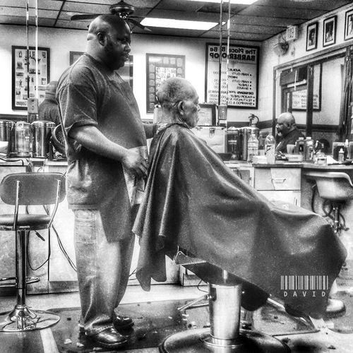 A Thursday night at tge shop Barbershop Blackandwhite Monochrome People