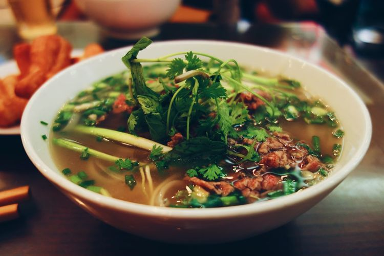 Pho Vietnam Food And Drink Bowl Close-up Asian Food Pasta Soup Serving Size Freshness Ready-to-eat Focus On Foreground Still Life Italian Food Table Japanese Food Indoors  Food No People Healthy Eating Wellbeing Garnish