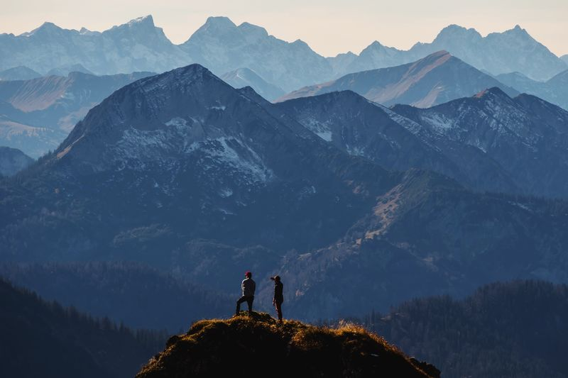 Enjoy the view! Mountain Mountain Range Hiking Togetherness Two People Adventure Adults Only Nature Mountain Peak People Beauty In Nature Scenics Landscape Leisure Activity Men Outdoors