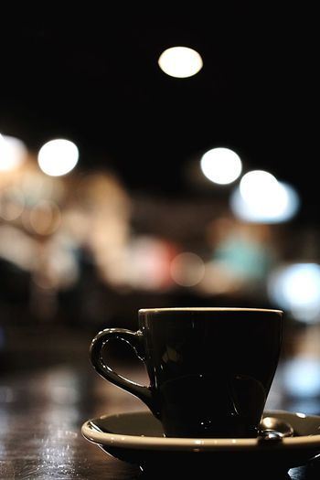 Close-up of coffee cup on table in cafe