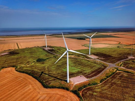 Power of the Future Field Aerial View Dji Drone  Sky Water Land Beauty In Nature Tranquility Sea Tranquil Scene Environment Scenics - Nature Day Landscape No People Horizon Wind Turbine Horizon Over Water Turbine Sunlight Outdoors EyeEmNewHere
