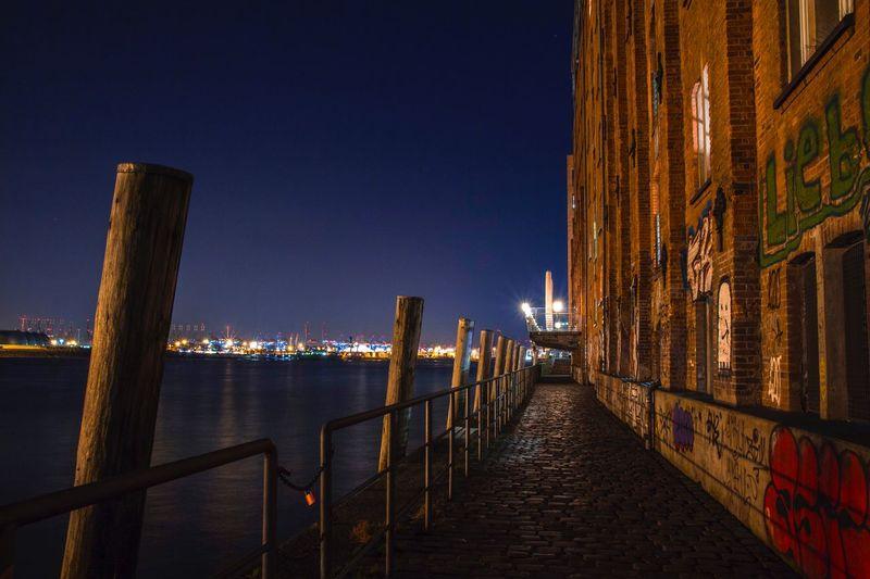 Harbor Night Built Structure Architecture Illuminated Building Exterior Railing Water