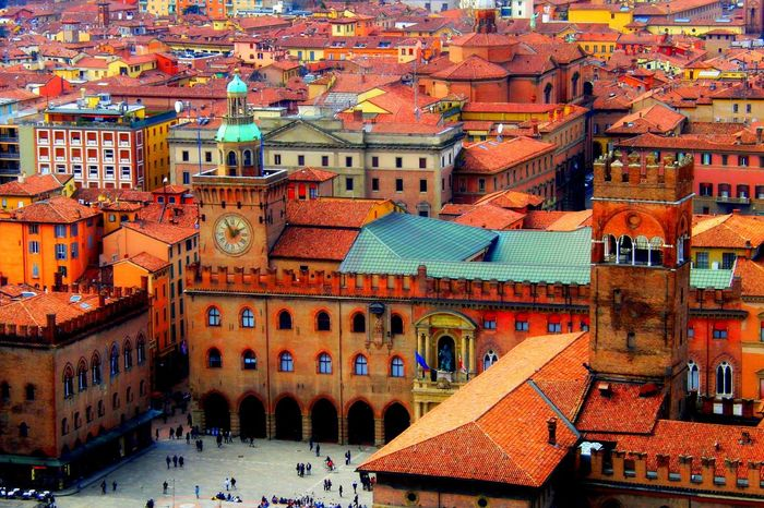Architecture Bologna Bologna, Italy Clock Tower Comune Elevated View Piazza Piazza Maggiore Red Roofs Town Center Town Centre Town Hall Town Square