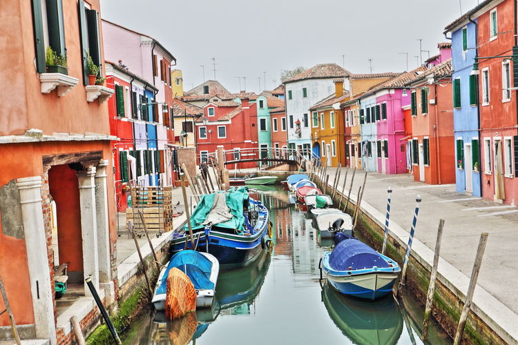 Architecture Building Exterior Burano, Venice Coloured Houses Gondola - Traditional Boat Multi Colored Outdoors Tourism Travel Destinations