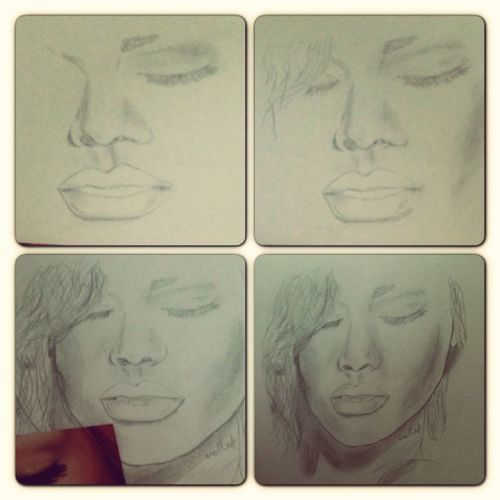 I never draw, this is my first attempt..I found an old sketch pad I bought for no reason ages ago! Still need practice.. Had her nose right the first time & then ruined it >__< gahhh!. Sketch Amature Rihanna Drawing Risketch Riri Rihannanavy Loud Portrait Boredom Bored Saturdayfun Sketchpad