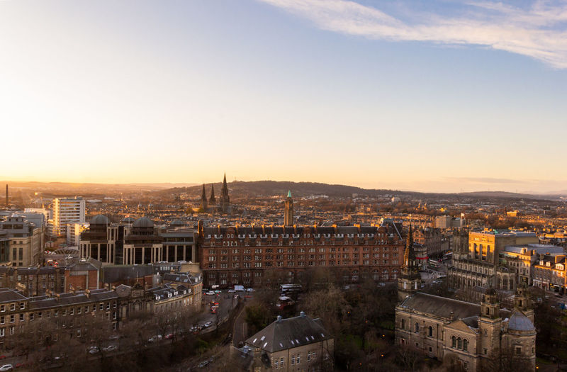 The old town of edinburgh with the beginning time of twilight