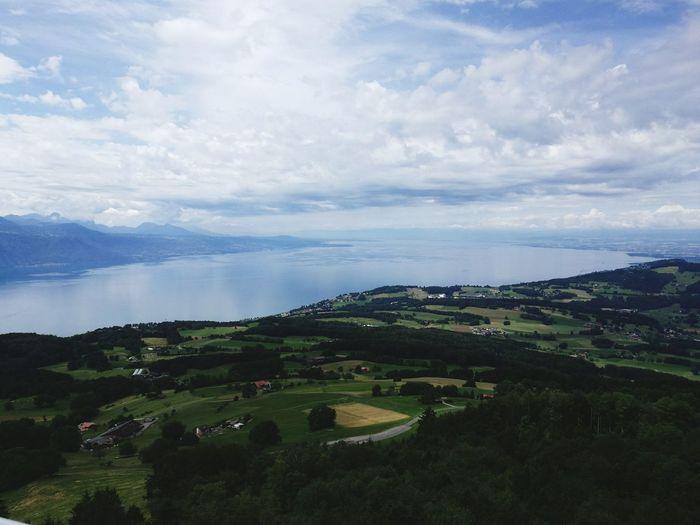 Genfersee Schweiz Lausanne See Wolken Berge