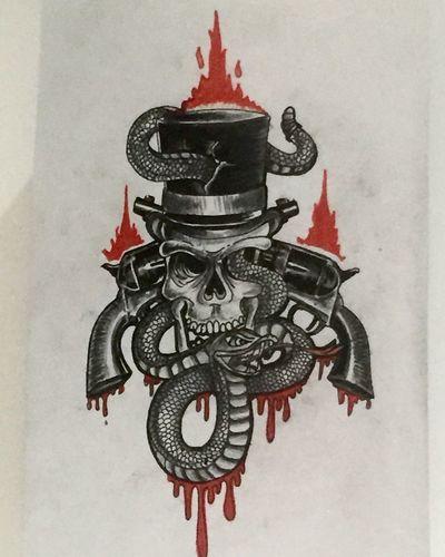 Traditionaltattooflash Traditionaltattoo Snake Tieumdekotattoo Skull Tattooflash Inked Flash Traditional Tattoo Ink Drawing Draw Pirate Art, Drawing, Creativity
