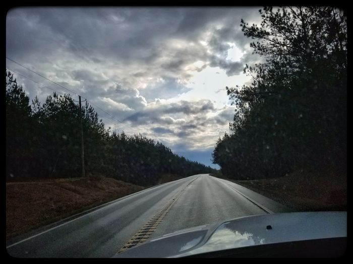 Transportation Road Windshield The Way Forward Car Tree Car Point Of View