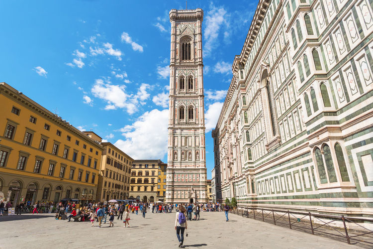 Giotto's bell tower at the piazza del duomo in florence