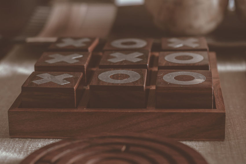 Game time Noughts And Crosses Decor Entertainment Area Game Day Home Decoration  Interior Decorating Close-up Communication Day Decoration Entertainment Game Indoors  No People Number Puzzle  Table Tic-tac-toe Wood - Material X