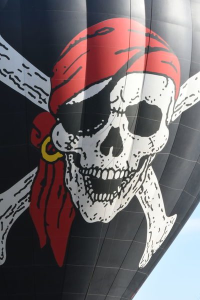 Balloon Festival Black Red And White Close Up Hot Air Balloon Jolly Roger No People Pirates Red Skull And Crossbones Temecula Balloon Festival Yo Ho Ho And A Bottle Rum We Go