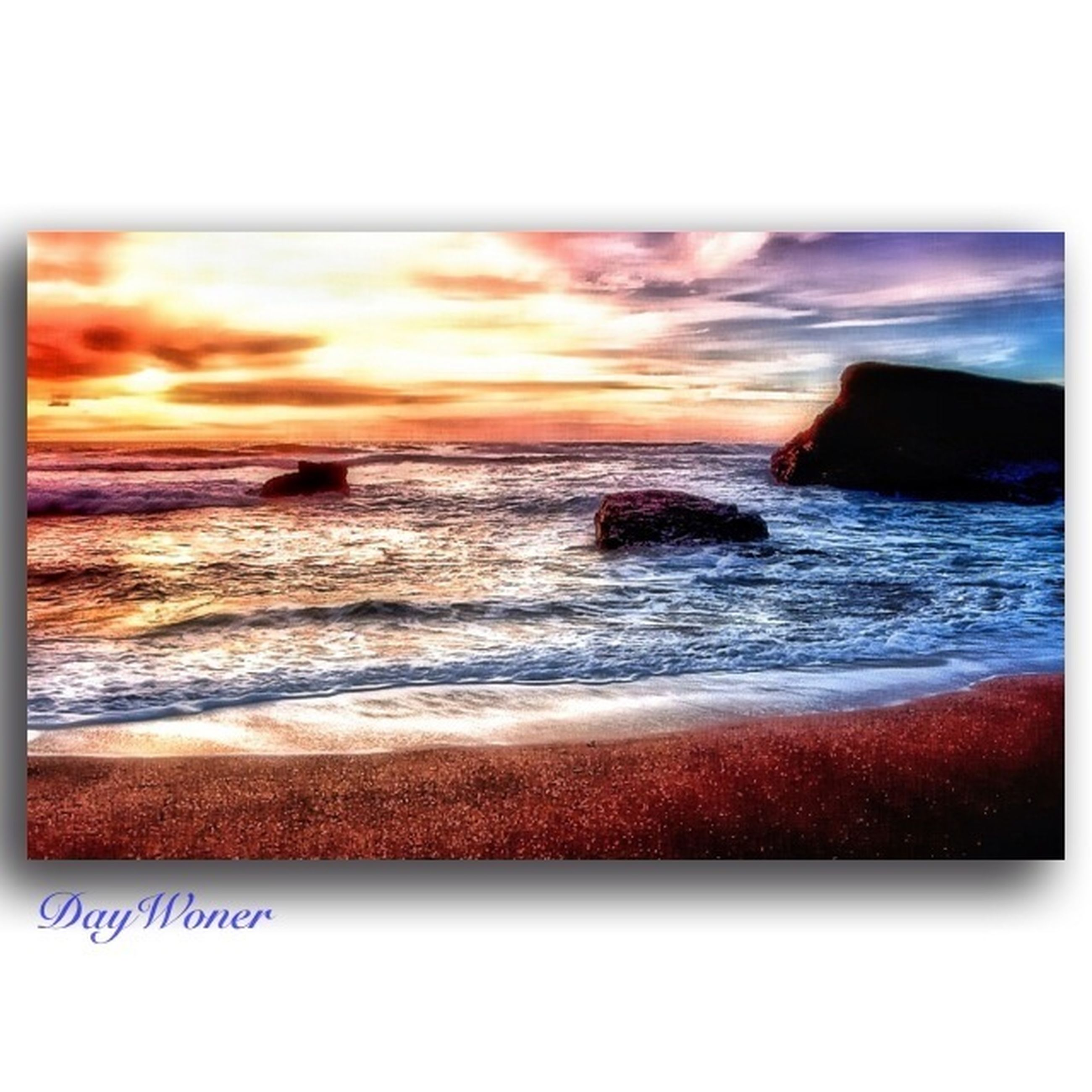 sea, water, transfer print, beach, horizon over water, scenics, wave, auto post production filter, beauty in nature, tranquil scene, shore, tranquility, sunset, sky, surf, nature, idyllic, coastline, tide, sand