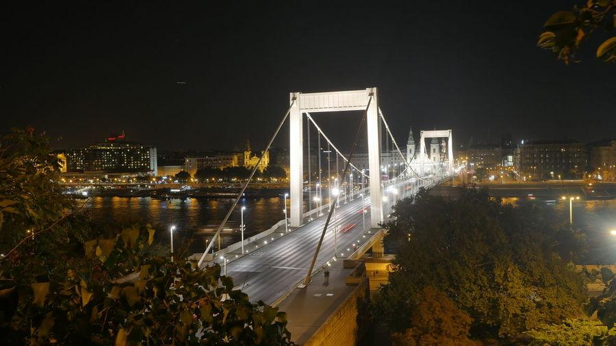 Illuminated elisabeth bridge over river danube against clear sky at night
