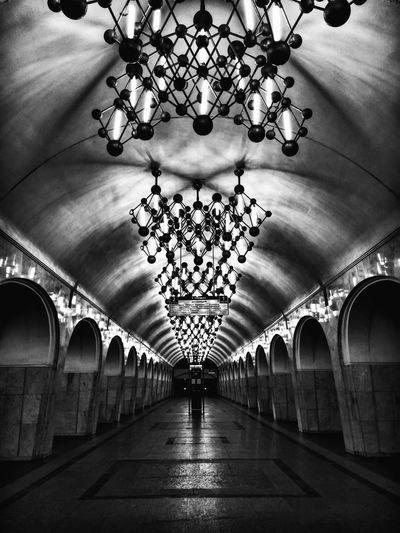 Arch Architecture Built Structure Metro Metro Station Moscow Black Blackandwhite Black & White Chemestry Mendeleevskaya