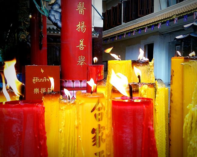 Shrine Chinese Shrine Candles Place Of Worship Buddhism Red Yellow Flame Burning