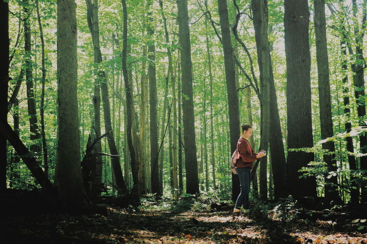 Man standing on tree in forest