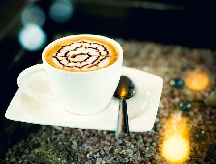 Coffee time Froth Art Cappuccino Frothy Drink Mocha Drink Latte Saucer Coffee - Drink Dessert Coffee Cup Slice Of Cake Cheesecake Cafe Macchiato Caramel