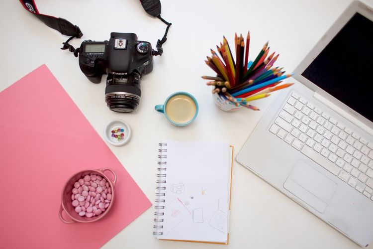 photographer desktop Camera - Photographic Equipment Coffee Colored Pencil Design Professional Desk M&m No People Note Pad Notebook Office Office Supply Paper Pen Pencil Pink Pink Candies Sketch Pad Technology The Still Life Photographer - 2018 EyeEm Awards