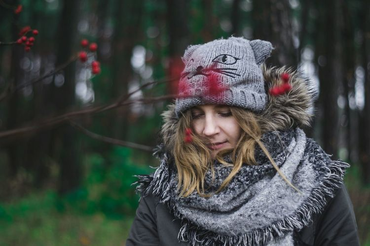 Winter Cold Temperature Warm Clothing Outdoors One Person Forest People Pinaceae Smiling Nature Happiness Day Portrait Human Body Part Tree Child Beauty Girl In Forest Women Red Now Estonia Emotions
