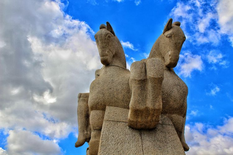 Monumento aos Bandeirantes- S. Paulo Brasil Monument Bandeirantes Statue Sculpture Blue City Religion Ancient Civilization Art And Craft Craft Sky Architecture