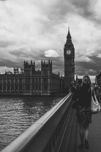 London calling Walking Bridge London Bigben People Blackandwhite Imissyou