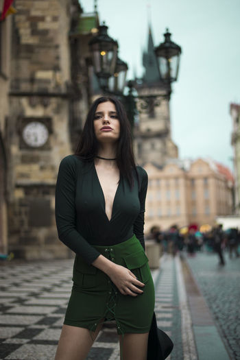 Girl with umbrella Amazing Autumn Beautiful Church City Clock Clock Tower Czech Republic Day Fashion Girl Green Model Only Women Outdoors People Prague Rain Rainy Days Scurt Street Streetphotography Umbrella Woman Young Adult First Eyeem Photo