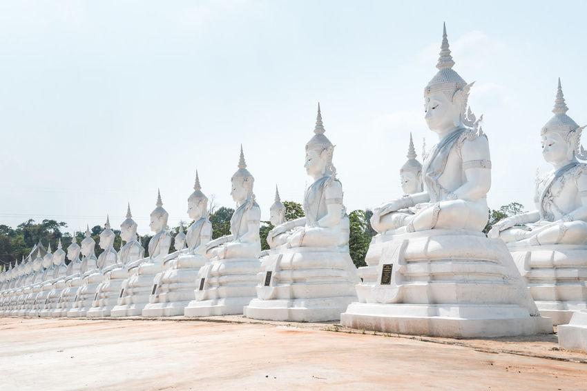 Buddha Statue Landscape Religion Sakonnakhon SakonNakhon ,Thailand Spirituality Statue Temple Temple In Thailand Tourism Travel White Buddha White Buddha Statue