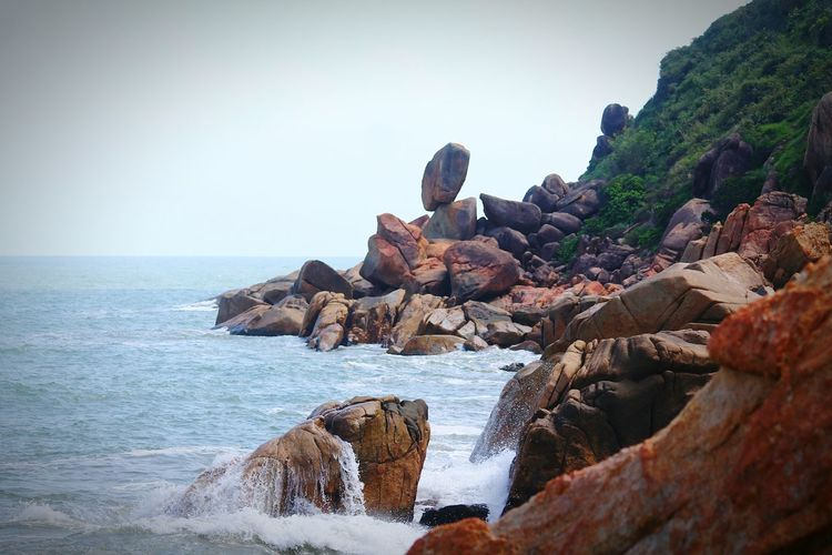 Balancing Stone, Vietnam Rocky Coastline Boulders Beach Boulders Peaceful Meditation Tranquility Calmness Body Of Water Relaxation Zen Cliffs And Water Summertime Balance Balancing Rock Vietnam ASIA Travel Travel Photography Landscapes With WhiteWall Sea And Sky Seascape The Great Outdoors - 2016 EyeEm Awards