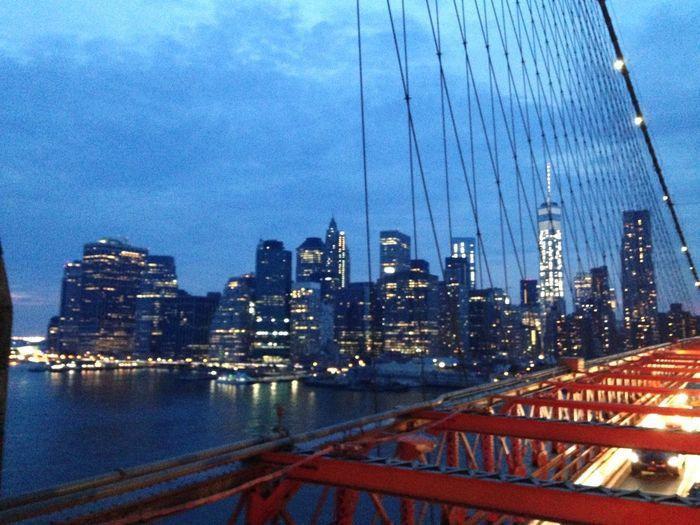 Brooklyn Holiday Hanging Out Brooklyn Bridge / New York New York At Night