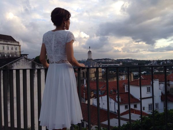 Girl In White View From Above Girl Coimbra Standing Contemplating
