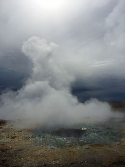Nature Sky Cloud - Sky Scenics No People Beauty In Nature Power In Nature Landscape Outdoors Tranquil Scene Day Tranquility Geyser Storm Cloud Mountain Emitting Erupting Iceland EyeEmNewHere 3XSPUnity