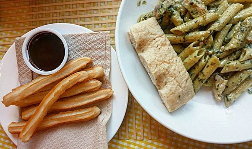 """Our """"light"""" breakfast - CreamyPestowithGrilledChicken and Churros . Puyat kami eh bakit ba. Creamy Pesto With Grilled Chicken Churros"""