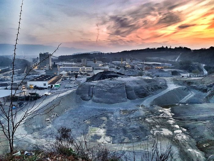Kiesgrube Quarry Gravel Quarry Industrial Landscapes Morning Sunrise Cold Temperature Winter Snow Dramatic Sky Sky