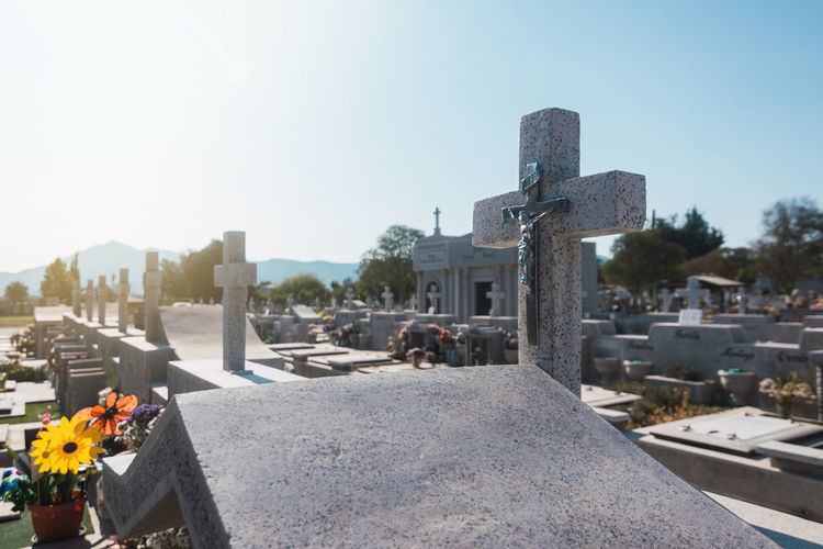 View of cemetery against clear sky