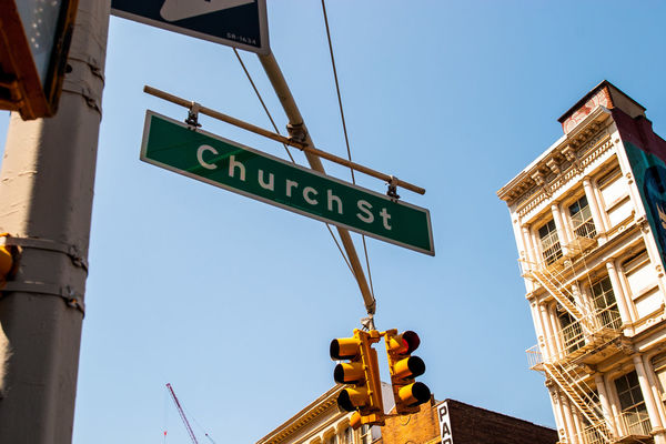 Church Street City Communication Direction Information Low Angle View New York Road Sign Sign