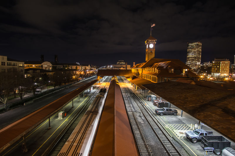 Train stations make for great photos. Central Dark Oregon Perspective Portland Station Clock Grand Night Tower Tracks Train Train Station It's About The Journey