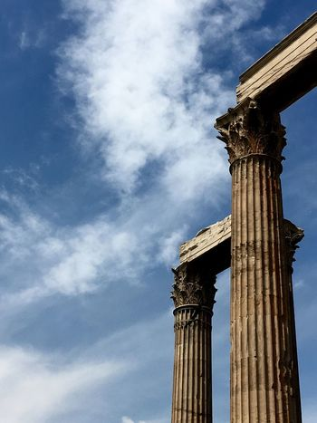 Athens, Greece Ruins Historical Monuments Zeus Historical Site Columns Tourism Blue Sky Beautiful Day Greece Blue Athens Architecture Detail