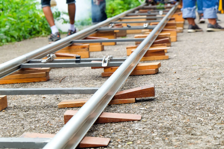 Low section of people on railroad track