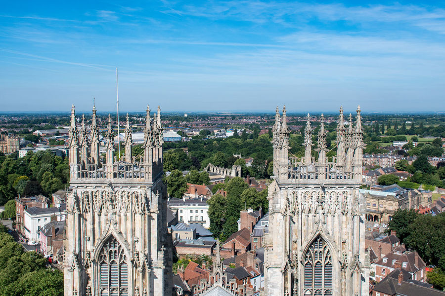Overlooking York with Towers in Foreground York York Minster  York Minster Cathedral Architecture Building Building Exterior Built Structure City Cityscape History Outdoors Sky Towers Travel Destinations