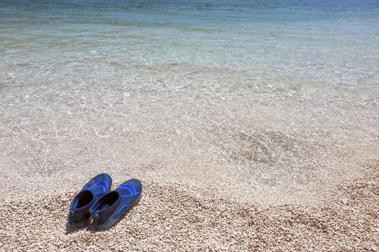 High angle view of shoes on beach