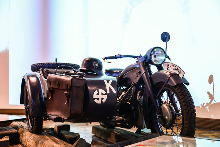 2ww Close-up Kyiv,Ukraine Military Motorcycle Military Museum NAZI Old-fashioned War Museum