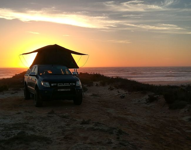 Finishing Of Rewarding Day Ford Camping Sunset Sea Beach Water Sand Outdoors Horizon Over Water Landscape