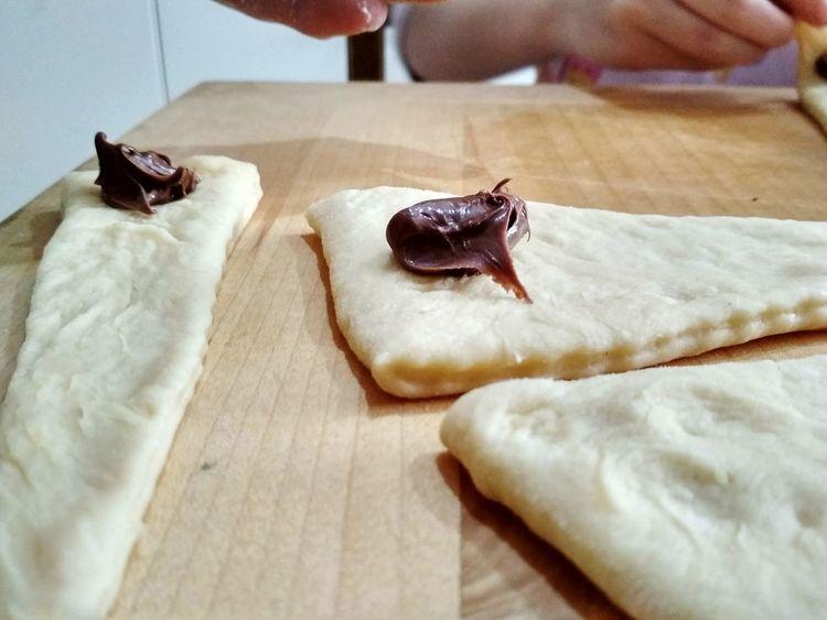 Dough Croissant Croissant Aux Chocolate Table Close-up Dessert Pastry