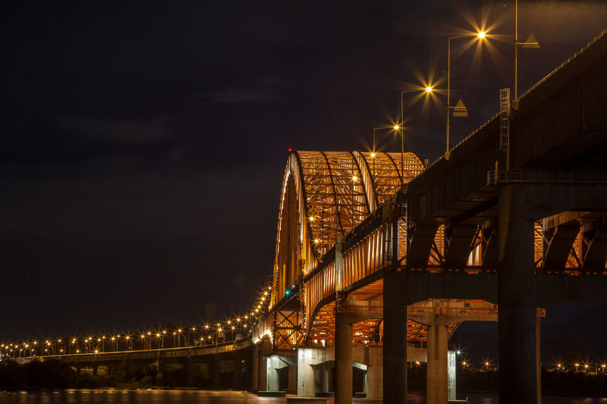 Architecture Banghwadaegyo Bridge Bridge - Man Made Structure Building Exterior Built Structure City City Life Connection Electric Light Engineering Han River Hangang Park Illuminated Lamp Post Lighting Equipment Lit Low Angle View Night No People Outdoors Sky Skyscraper Street Light Waterfront
